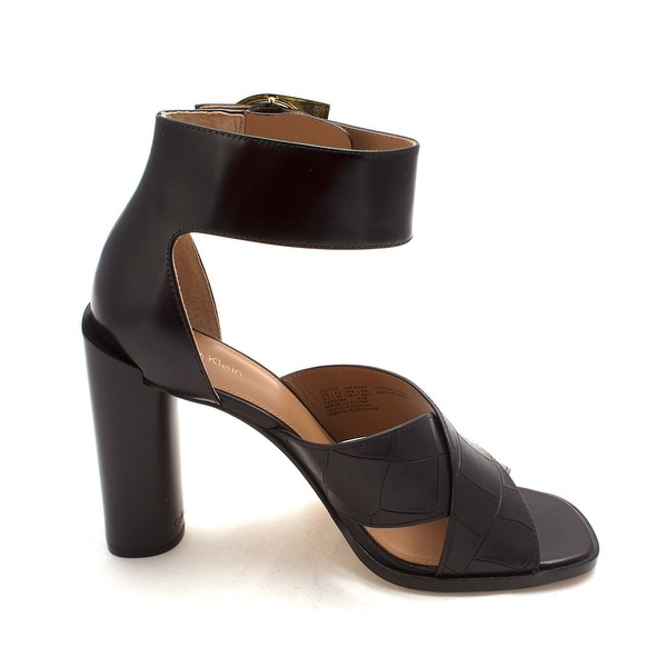 Calvin Klein Womens Alivia Leather Open Toe Casual Ankle Strap Sandals
