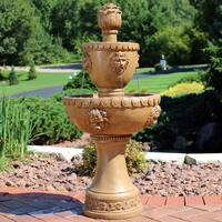 Sunnydaze 2-Tier Contemporary Lion Electric Outdoor Water Fountain - 41-Inch