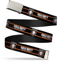 "Blank Chrome 1.0"" Buckle Call Of Duty Black Ops Iii Skull Icon 2 Stripe Web Belt 1.0"" Wide - S"