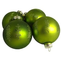 Pack of 4 Matte Green Glitter Tree Glass Ball Christmas Ornaments 2.5""