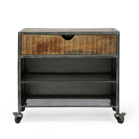 Gieke Industrial Handcrafted Mango Wood Shoe Rack by Christopher Knight Home