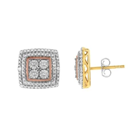 .925 Sterling Silver Diamond Accented Square Shaped Milgrain Stud Earrings (I-J Color, I3 Clarity) - Choice of Metal Color