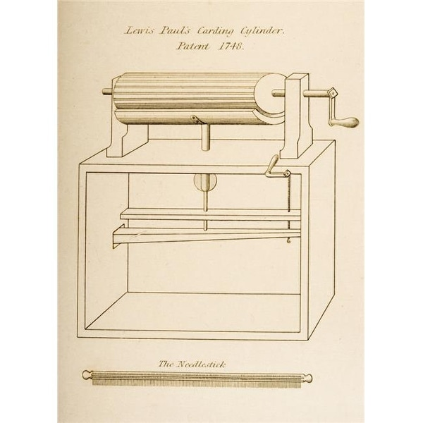 Drawing of Lewis Pauls Carding Cylinder Patented 1748  Engraved by