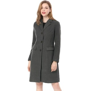 Women's Notched Lapel Single Breasted Outwear Winter Coat