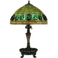 """Meyda Tiffany 134539 Turtleback 2 Light 24"""" Tall Hand-Crafted Table Lamp with Stained Glass - Mahogany Bronze - n/a"""