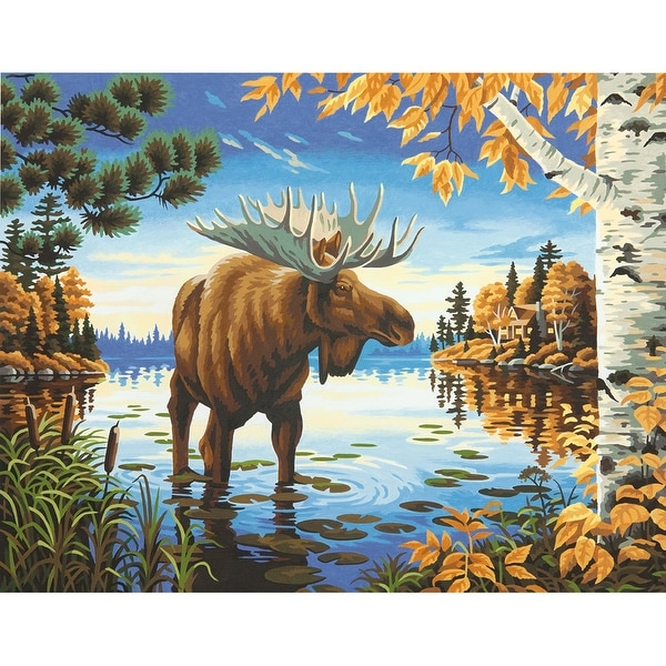 """Paint Works Paint By Number Kit 14""""X11""""-Majestic Moose"""