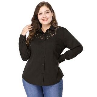 Women's Plus Size Lace Top Button Down Black Shirt