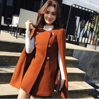 British style woolen cape coat