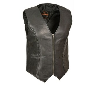 Womens Leather Zip Front Braided Vest