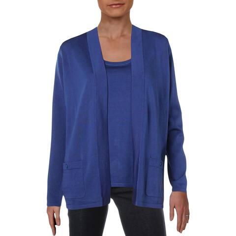Anne Klein Womens Sweater Set Long Sleeves Scoop Neck