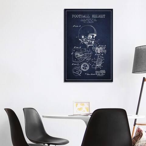 """iCanvas """"Football Helmet Navy Blue Patent Blueprint"""" by Aged Pixel Canvas Print"""
