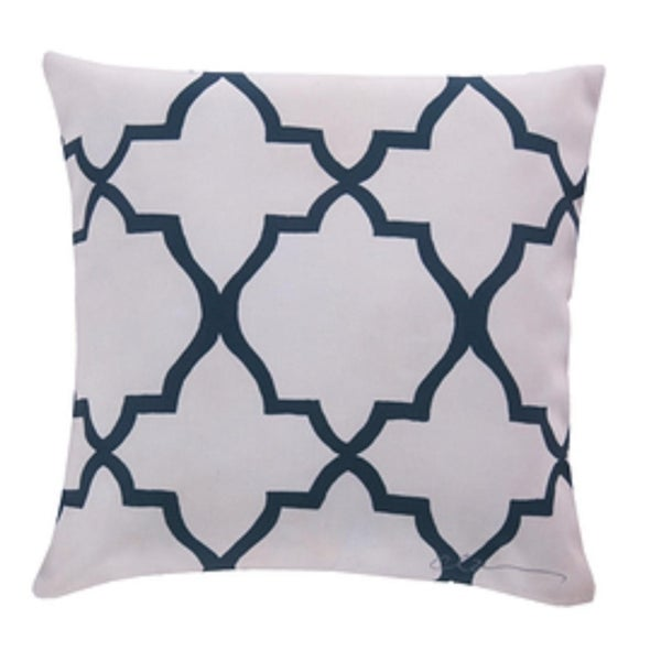 "20"" Midnight Blue and Off-White Geo Nautique Square Outdoor Pillow Shell"