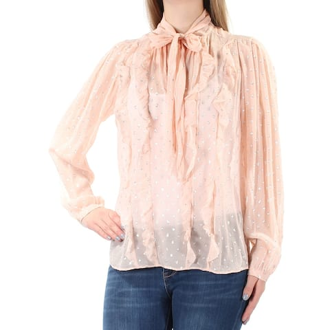 REBECCA TAYLOR Womens Pink Cuffed Tie Neck Wear To Work Top Size 8