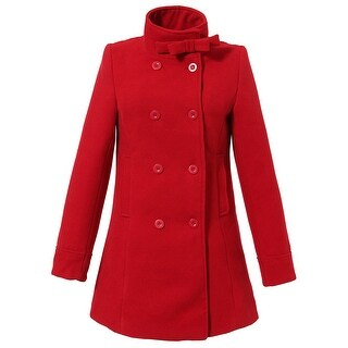 Richie House Girls' Double-breasted Jacket with Little Stand Collar