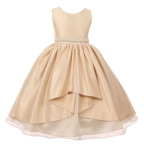 Little Girls Champagne Satin Unbalanced High Front Flower Girl Dress 2T-6