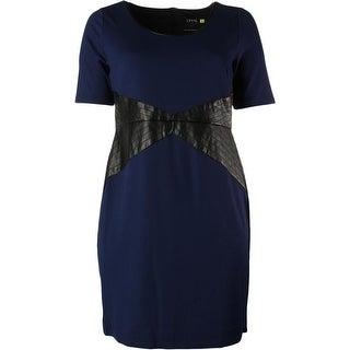Lysse Womens Plus Stretch Faux Leather Trim Wear to Work Dress