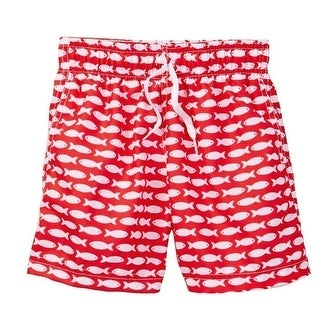 Azul Baby Boys Red Fish Line Print Drawstring Waist Swim Shorts