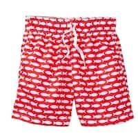 Azul Little Boys Red Fish Line Print Drawstring Waist Swim Shorts