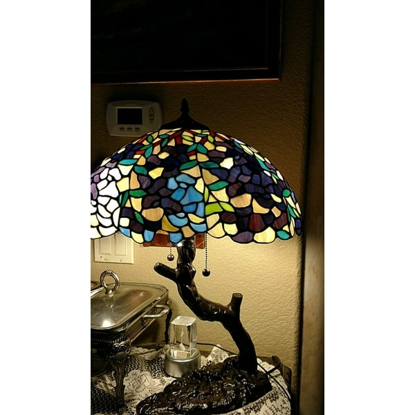 Warehouse Of Tiffany Tiffany Style Bronze Finish Stained Glass 2 Light Tree  Lamp   Free Shipping Today   Overstock.com   10303533