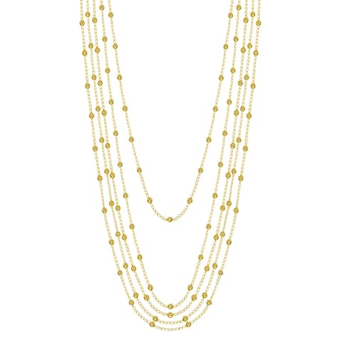 Forever Last 18 k Gold Overlay Long Multi Strend Necklace
