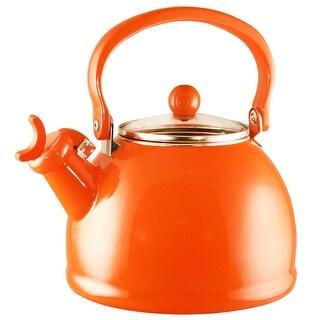 Calypso Basics by Reston Lloyd Harmonic Hum Whistling Teakettle with Glass Lid, 2.2-Quart, Orange