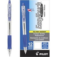 Pilot EasyTouch Retractable Ball Point Pen, 1.0 mm Medium Point, Blue Ink, Pack of 12