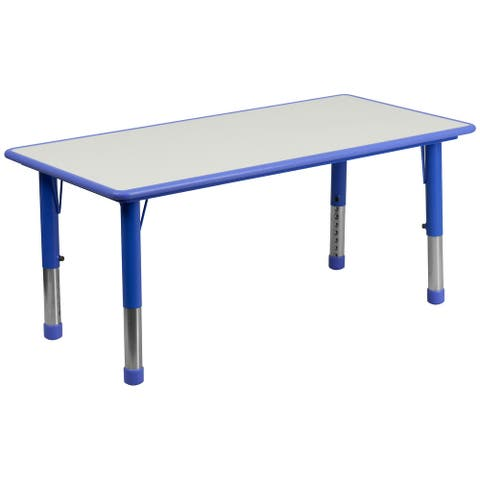 """23.625""""W x 47.25""""L Rectangular Plastic Activity Table with Grey Top"""