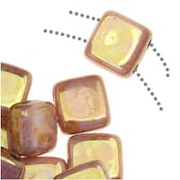 CzechMates Glass 2-Hole Square Tile Beads 6mm - Opaque Rose/Gold Topaz Luster