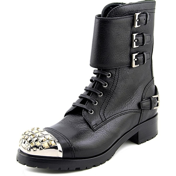 Miu Miu Cervo Shine Women Round Toe Leather Black Mid Calf Boot