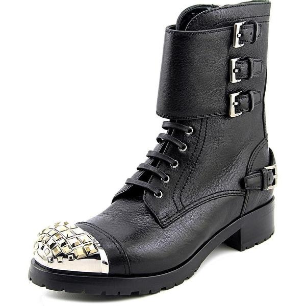 Miu Miu Cervo Shine Women Round Toe Leather Black Mid Calf Boot