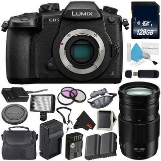 Panasonic Lumix DC-GH5 Mirrorless Micro Four Thirds Digital Camera (Body Only) + Panasonic Lumix G V II POWER O.I.S. Lens Bundle