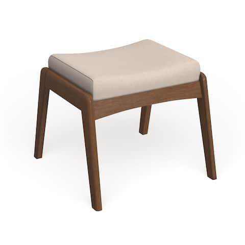 Carson Carrington Forssa Mid-century Modern Walnut Wood Upholstered Ottoman