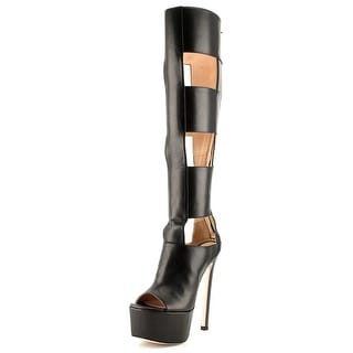 Ruthie Davis Chic Women Open-Toe Leather Knee High Boot