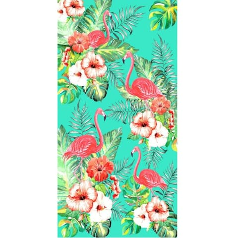 Flamingo & Flowers 30x60 Brazilian Velour Beach Towel