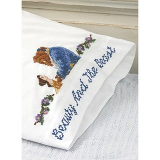"""Disney Dreams Stamped Pillowcases 30""""X20"""" 2/Pkg-Beauty And The Beast Falling In Love"""