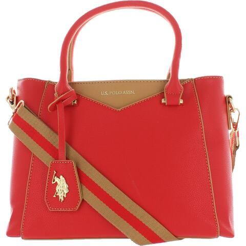 U.S. Polo Assn. Women's Faux Leather Signature Medium Satchel Handbag