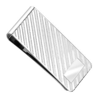 Dolan Bullock Men's Diagonal Stripe Money Clip in Sterling Silver - White