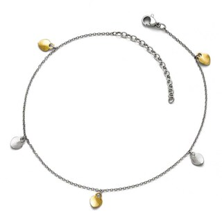 Chisel Stainless Steel Polished Yellow IP Hearts Anklet (1 mm) - 10.5 in