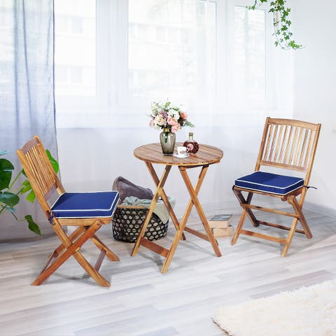 3 Piece Patio Folding Bistro Set Acacia Wood Chair and Table Set