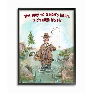 Link to Stupell Industries His Fly Funny Sports Fishing Cartoon Design Framed Wall Art Similar Items in Canvas Art