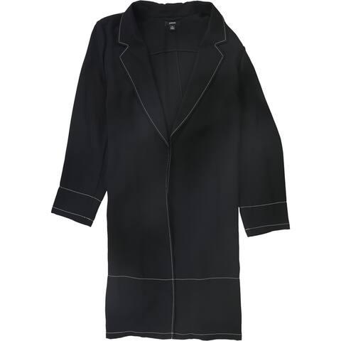 Alfani Womens Contrast Stitch Jacket, Black, X-Large