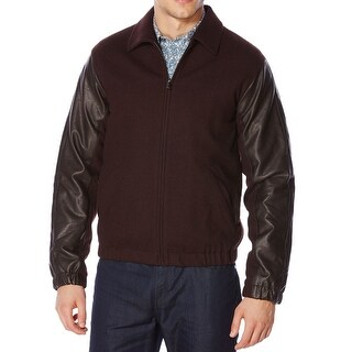 Perry Ellis NEW Brown Mens Size Medium M Full-Zip Bomber Wool Jacket