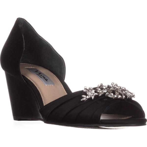 Nina Emiko Dress Peep Toe Wedge Sandals, Black