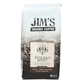 Jim's Organic Coffee - Whole Bean - Italian Roast - Case of 6 - 11 oz.