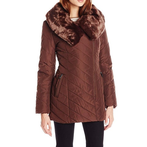 Steve Madden Brown Womens Size XL Faux Fur Quilted Puffer Jacket