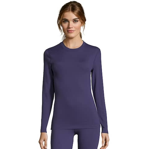 Hanes Women's Solid 4-Way Stretch Thermal Crewneck - Color - Astral - Size - XL