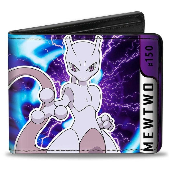 Pokmon #150 Mewtwo Charged Pose Black Silver Purples Blues Bi Fold Wallet - One Size Fits most