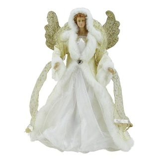 "18"" Seasons of Elegance White and Gold Angel Christmas Tree Topper - Unlit"