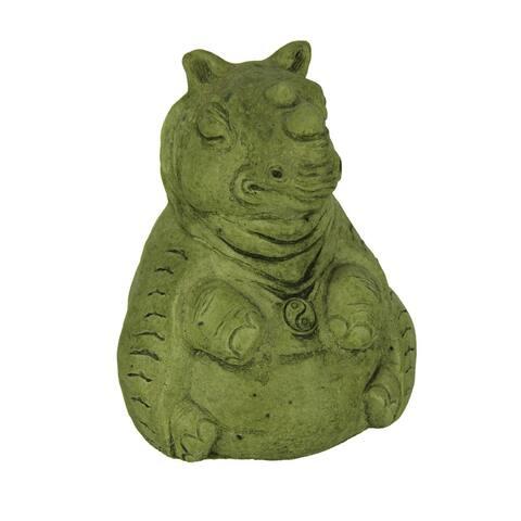 Designer Stone Mossy Green Zen Rhino Concrete Statue - 5.5 X 4 X 3.75 inches