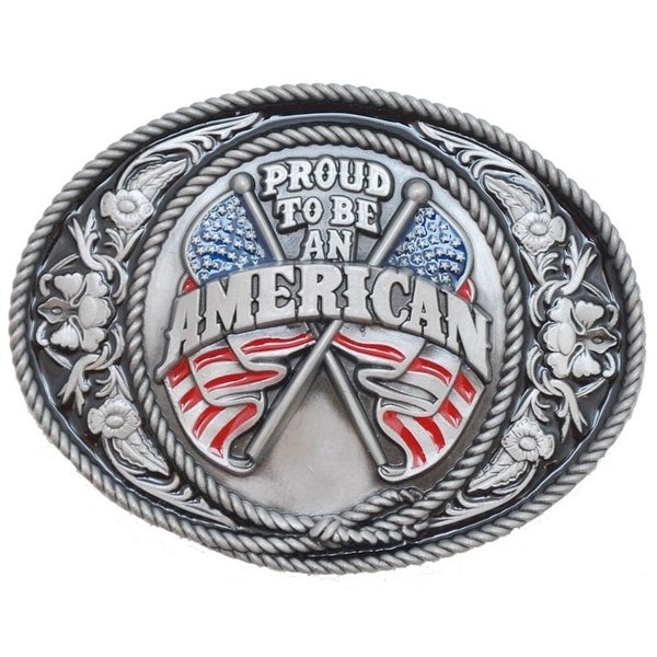 Proud To Be An American Silver Belt Buckle - One size